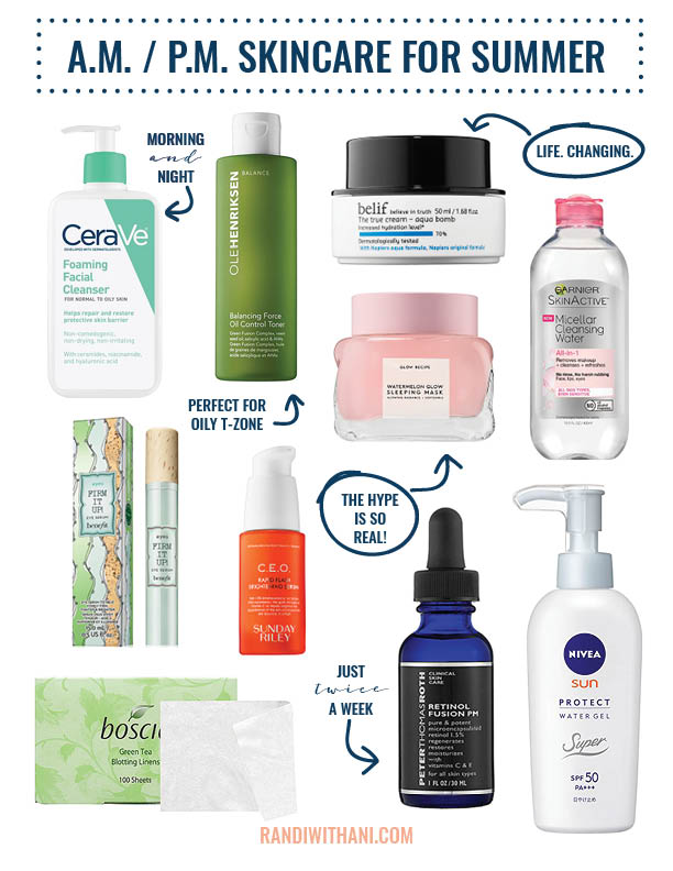 A morning and evening skincare regimen for summer. A great routine to help combo skin stay nice in the sun.